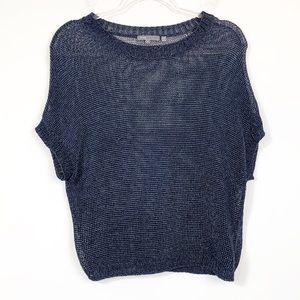 Vince Metallic Sheer Dolman Short Sleeve Sweater S